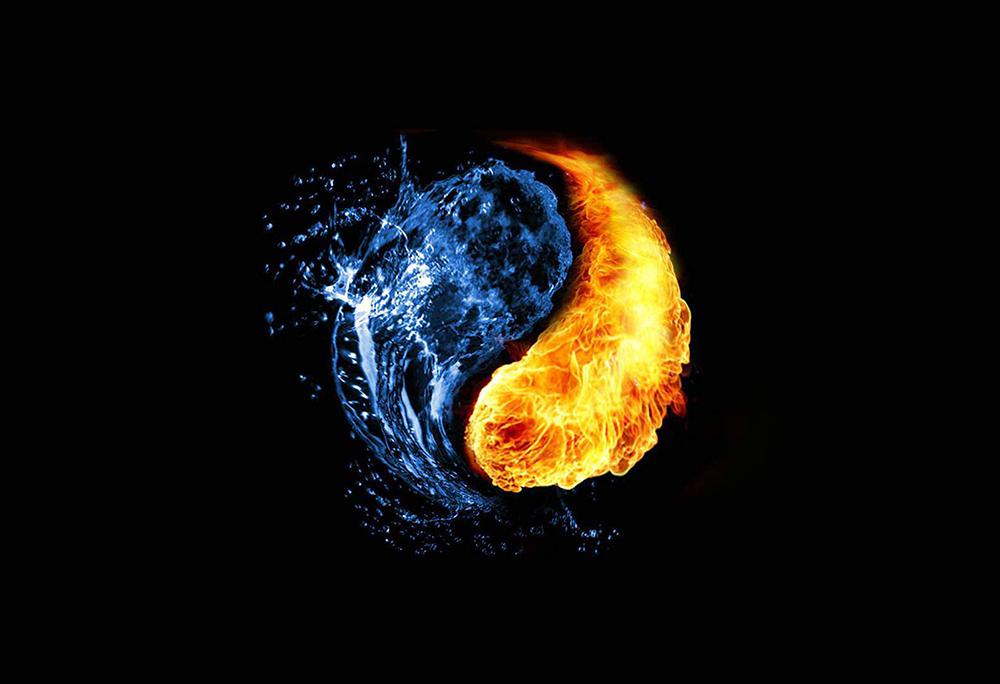 Elemental Yin/Yang Water/Fire- Fantasy Poster - Fantasy Print ...